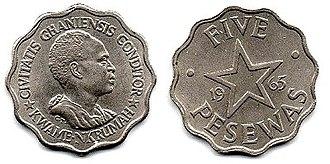 Ghanaian cedi - Image: 5 pesewas (1958)
