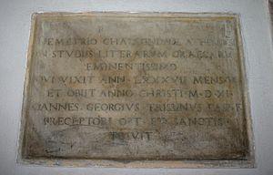 Demetrios Chalkokondyles - Gravestone in Milan.