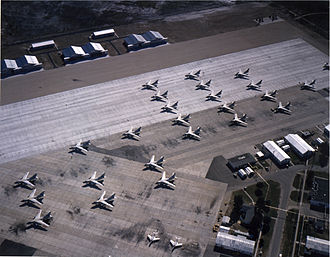 Naval Air Station Sanford - A3D-2 Skywarriors and F9F-8T Cougars of Heavy Attack Wing ONE (HATWING-1) on southwest ramp at NAS Sanford, circa 1960.