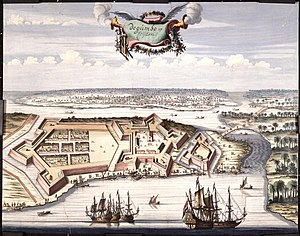 Negombo - Painting by Johannes Vingboons of the Dutch fort in Negombo, c. 1665