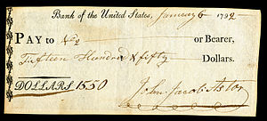 First Bank of the United States - Bank of the United States check signed by John Jacob Astor in 1792