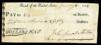 American business history - Bank of the United States check signed by John Jacob Astor in 1792