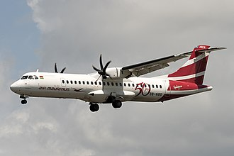 "Air Mauritius - ATR 72-500 3B-NBG ""Port Mathurin"" wearing the airline's 50th anniversary livery."