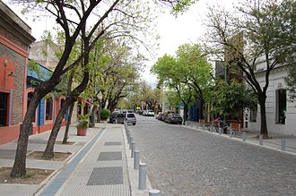 Palermo, Buenos Aires - Cobblestoned street with low houses in the trendy Palermo Soho.