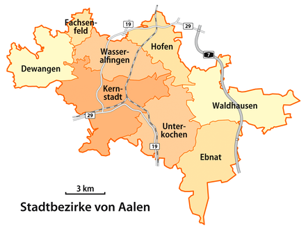 Map of Aalen's boroughs (Stadtbezirke)