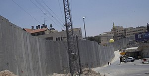 Israeli West Bank barrier - The barrier between Abu Dis and East Jerusalem, June 2004