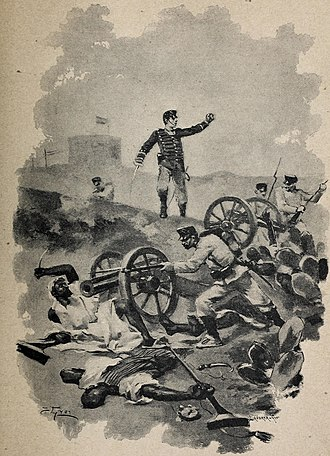 Miguel Primo de Rivera - Lithography of the heroic actions of Primo de Rivera during the First Melillan campaign, 1893