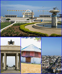 Counter-clockwise from top: Black Star Square; The Black Star Monument; The Planetarium of Accra; terraced houses of Accra.