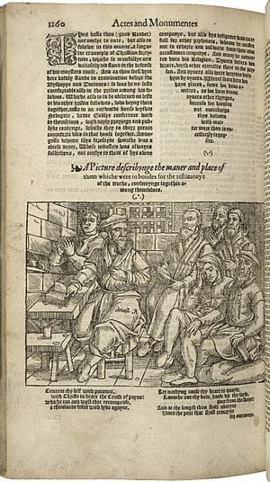 John Foxe - A page from the first edition of Actes and Monuments, also known as Foxe's Book of Martyrs, published in 1563.