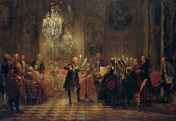 """Flötenkonzert Friedrichs des Großen in Sanssouci (""""Frederick the Great's Flute Concert in Sanssouci"""") by Adolph von Menzel, 1852, depicts Frederick the Great playing the flute as C. P. E. Bach accompanies on the keyboard. The audience (invented by Menzel, and not based on any actual occasion) includes Bach's colleagues as well as nobles. (Source: Wikimedia)"""
