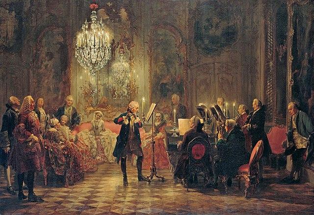 Адольф фон Менцель. Флейтовый концерт в Сан-Суси. 1852. Старая национальная галерея. Карл Филипп Эмануэль Бах аккомпанирует Фридриху Великому.