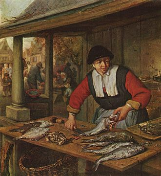 Hierarchy of genres - A genre painting. Adriaen van Ostade, Fishmonger, 1660–1670, oil on oak, 29 × 26.5 cm, Museum of Fine Arts, Budapest.
