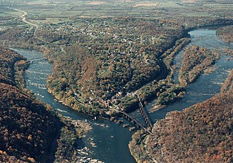 Tributary - Looking upstream, the Shenandoah River (left) is a tributary of the larger Potomac River (right)