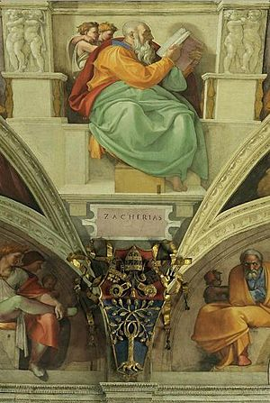 Art patronage of Julius II - On the wall above the main entrance door of the Sistine Chapel fresco of the Prophet Zechariah lower, with the face of Pope Julius II, le below the coat of the same pope. Michelangelo.