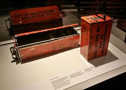 The flight data recorder and cockpit voice recorder of Air New Zealand Flight 901, Museum of New Zealand Te Papa Tongarewa (2015) Air New Zealand Flight 901 Black Box.jpg