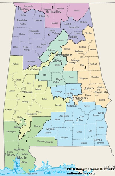 Alabama United States Map.United States Congressional Delegations From Alabama Wikipedia