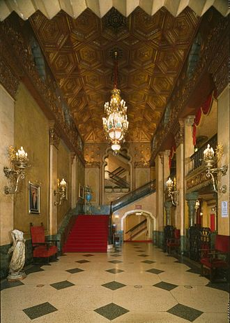 Alabama Theatre - The Grand Lobby, between the Hall of Mirrors and Main Auditorium.  Taken in 1996, prior to restoration.