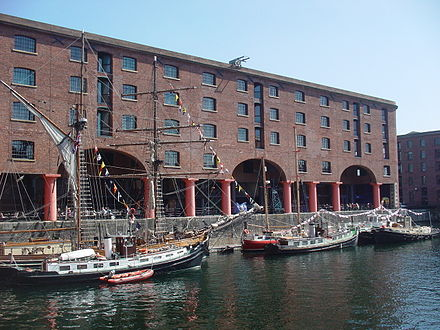 The Albert Dock contains the UK's largest collection of Grade I listed buildings as well as being the most visited multi-use attraction outside London Albert Dock, Liverpool - DSC00940.JPG