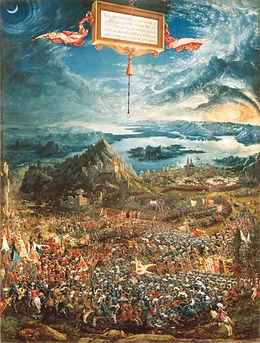 Die Alexanderschlacht (1529), Alte Pinakothek, München. Schlegel bewunderte dieses Gemälde von Albrecht Altdorfer. Er beschrieb die untergehende Sonne als eine kosmische Vision von urweltlicher Großartigkeit.[24] (Quelle: Wikimedia)