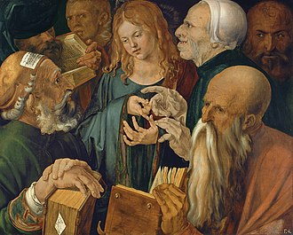 Finding in the Temple - Image: Albrecht Dürer Jesus among the Doctors Google Art Project