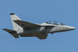 Alenia Aermacchi M-346 Master - An Italian M-346 in flight during the 55th Anniversary of the Frecce Tricolori.