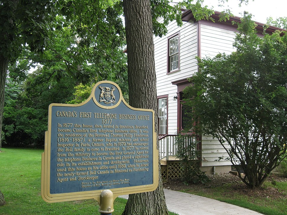 Alexander Graham Bell in Brantford, Ontario, Canada -plaque commemorating Canada's first telephone company office, established in Brantford, Ontario, 1877 -panoramic view
