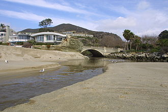 Aliso Creek (Orange County) - Aliso Creek empties into a sandy lagoon at its mouth in Laguna Beach. Due to tides and erosion, its mouth is ever-changing.