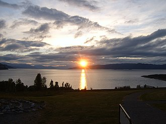 Midnight sun - The Altafjord in Alta, Norway, bathed in the midnight sun.