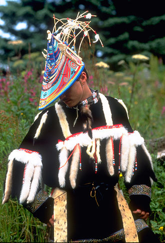 Alaska - A modern Alutiiq dancer in traditional festival garb.