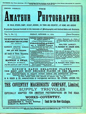 Amateur Photographer - The Amateur Photographer, Vol 1, No 1, 10 Oct 1884, front cover.