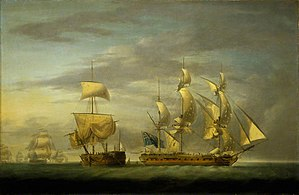 Action of 29 July 1782 - Action Between the Amazone and HMS Santa Margarita: Cutting the Prize Adrift; by Robert Dodd