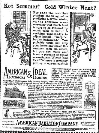 American Radiator Company - Advertisement for the American Radiator Company – Baltimore Sun, September 11th, 1913