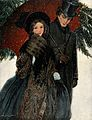 An elegantly dressed couple walk arm in arm under an umbrell Wellcome V0039050.jpg