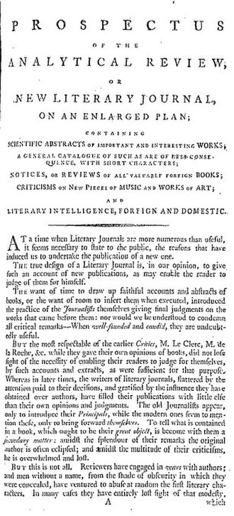 Analytical Review - The prospectus for the Analytical Review (1788) outlined the journal's intention to present readers with objective summaries of important new publications.