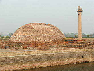 Licchavi (clan) - Ananda Stupa, with an Asokan pillar, at Vaishali, the capital city.