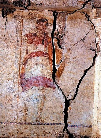 Rise of Macedon - Painted depiction of a soldier wearing the linothorax, from an ancient Macedonian tomb of Mieza, Macedonia in Imathia, Greece, 4th century BC