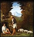 Andrea previtali, scene dalle ecloghe di tebaldeo, la storia di damone, 1510 ca. 04 pastore thyrsi.jpg