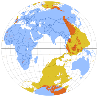 """Antipodes - This map shows the antipodes of each point on Earth's surface—the points where the blue and yellow overlap are land antipodes—most land has its antipodes in the ocean. This map uses the Lambert azimuthal equal-area projection. The yellow areas can be considered to be opposite reflections of the blue areas but on the inner """"surface"""" of the globe of Earth"""