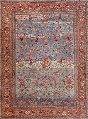 Sultanabad rugs and carpets - Antique Persian Sultanabad Rug with a Blue Field