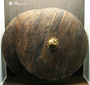 Anglo-Saxon weaponry - Two round, wooden shields from Thorsberg moor; dating to the 3rd century CE, they are similar to the shields used by the Anglo-Saxons