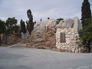 The south side of Areopagus in the ancient ago...