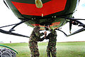 Army Air Corps Personnel Attach an Underslung Load to a Bell 212 Helicopter from 671 Squadron MOD 45151679.jpg