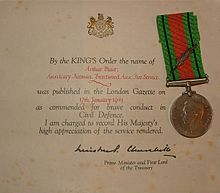 Kings commendation for brave conduct 1916 1952 wikipedia circumstances of awardsedit yelopaper Choice Image