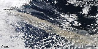 Air travel disruption after the 2010 Eyjafjallajökull eruption - Ash plume blowing across the North Atlantic on 15 April.