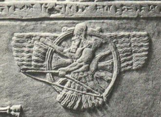 "Ashur (god) - A Neo-Assyrian ""feather robed archer"" figure, symbolizing Ashur. The right hand is extended similar to the Faravahar figure, while the left hand holds a bow instead of a ring (9th- or 8th-century BC relief)."