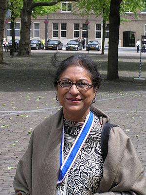 Asma Jahangir, shortly after being awarded the...