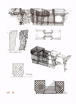Trellis (architecture) - Project for Brancusi's studio, by Jean-Max Albert, 1978