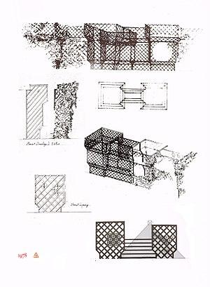 Trellis (architecture) - Project for Brancusi's studio, by Jean-Max Albert, 1978