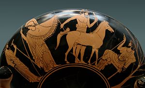 Ancient Greek sculpture - Athena in the workshop of a sculptor working on a marble horse, Attic red-figure kylix, 480 BCE, Staatliche Antikensammlungen (Inv. 2650)