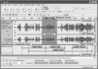 Audacity (audio editor) - Image: Audacity Main Panel Annotated